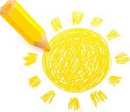 Yellow cartoon pencil with doodle sun Stock Photo