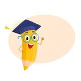 Yellow cartoon pencil with in graduation cap giving okay Stock Image