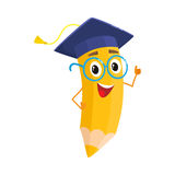 Yellow cartoon pencil with in graduation cap giving okay Royalty Free Stock Photography