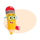 Yellow cartoon pencil in nerdy glasses telling something clever Stock Photography