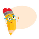 Yellow cartoon pencil in nerdy glasses telling something clever. Yellow cartoon pencil in glasses telling something clever and pointing finger up, vector Royalty Free Stock Photos