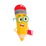 Yellow cartoon pencil in nerdy glasses telling something clever Stock Images