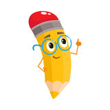 Yellow cartoon pencil in nerdy glasses telling something clever Stock Photo