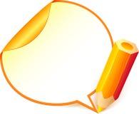 Yellow cartoon pencil with paper speech bubble Stock Photo