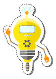 Yellow Cartoon Robot Character. Royalty Free Stock Images