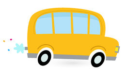 Yellow cartoon school bus Royalty Free Stock Image