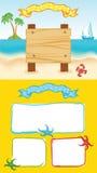 Yellow cartoon sea template Royalty Free Stock Image