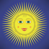 Yellow Cartoon Sun Icon Stock Photography