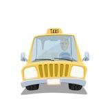 Yellow cartoon taxi car. Stock Photos