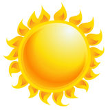 Yellow cartoon vector sun shining isolated in white background. Yellow and orange cartoon vector sun shining as weather climate and temperature symbol Royalty Free Stock Photos