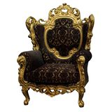 Yellow carved armchair Stock Photo