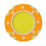 Yellow casino chip Royalty Free Stock Photos