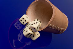 Yellow casino dice with cup Royalty Free Stock Photos