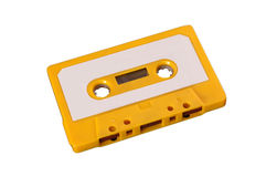 Yellow cassette tape Royalty Free Stock Images