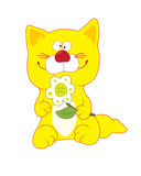 Yellow_cat. Yellow smiling cat with flower Stock Illustration