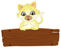 A yellow cat above the empty signboard. Illustration of a yellow cat above the empty signboard on a white background Royalty Free Stock Photo