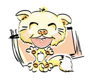 Yellow cat. Yellow amusing kitten in cartoon style Stock Photo