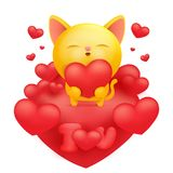Yellow cat cartoon emoji character holding red heart. Vector illustration Royalty Free Stock Image