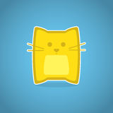 Yellow cat. Cat cartoon icon. Cute yellow cat on blue background Stock Image
