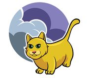Yellow Cat And Cloudy Sky. Vector illustration of yellow cat and cloud sky Royalty Free Stock Photography
