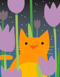 Yellow cat with flowers. A yellow cat is amongst the flowers at night Royalty Free Stock Images
