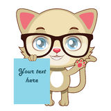 Yellow cat holding a piece of paper. Yellow cat with glasses holding a piece of paper Royalty Free Stock Photography