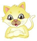 A yellow cat. Illustration of a yellow cat on a white background Stock Image