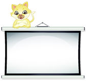 A yellow cat leaning over the empty bulletin board. Illustration of a  yellow cat leaning over the empty bulletin board on a white background Royalty Free Stock Image