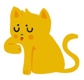 Yellow Cat Licking Paw. Vector illustration of a cartoon yellow cat licking its paw Stock Photos