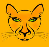 Yellow Cat. In  lines Royalty Free Stock Images