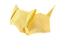 Yellow cat of origami. Royalty Free Stock Image