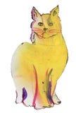 Yellow cat purple Royalty Free Stock Photos