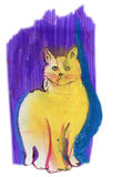 Yellow cat purple. Original pastel sketch Stock Image