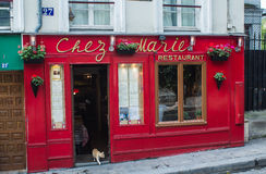 Yellow cat walks out the door of a restaurant, Montmartre, Paris. Cat walks out the door of the Chez Marie restaurant on Montmartre in Paris. Restaurant front is royalty free stock image