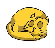 Yellow cat on white background. A series of silly multi-colored. Cats. Vector illustration Royalty Free Stock Image