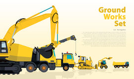 Yellow catalog set of ground works vehicles. Construction machines equipment. Stock Image