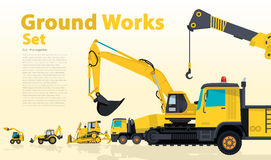 Yellow catalog set of ground works vehicles. Construction machines equipment. Royalty Free Stock Image