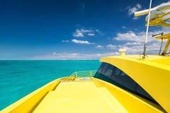 Yellow catamaran in caribbean sea Royalty Free Stock Image