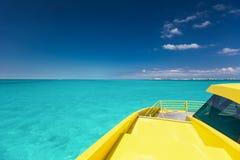 Yellow catamaran in caribbean sea Stock Image