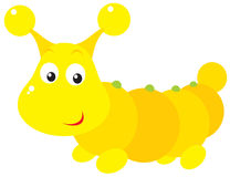 Yellow caterpillar. The  clip-art of the funny small caterpillar Royalty Free Stock Images