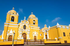 Yellow Cathedral in Trujillo, Peru. Magnificent yellow cathedral with a beautiful blue sky in Trujillo, Peru Royalty Free Stock Photo
