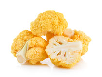 Yellow cauliflower on white background Stock Photography