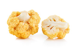 Yellow cauliflower on white background Royalty Free Stock Image
