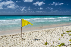 Yellow caution flag on a Barbados beach. Royalty Free Stock Photo