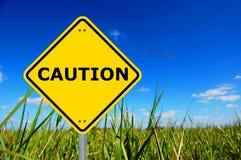 Yellow caution sign Royalty Free Stock Photos