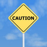 Yellow caution sign Royalty Free Stock Image