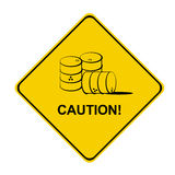 Yellow caution sign. With barrels Royalty Free Stock Photography