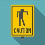 Yellow caution zombie sign icon, flat style Stock Images