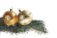 Yellow Cchristmas balls and fir tree Royalty Free Stock Images