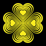 Yellow Celtic heart knot - stylized symbol. Made of hearts. Four leaf clover. Stock Photography